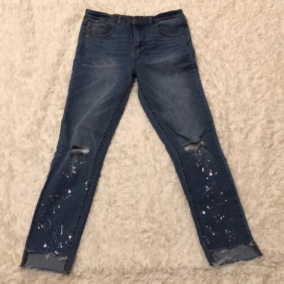Material Girl Jeans Stair Ragged Hem Paint Spots L